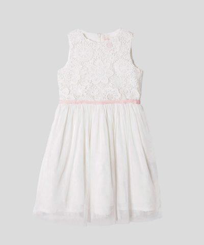 детска рокля с дантела и тюл в бял цвят