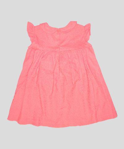 бебешка и детска рокля с бродерии в цвят корал
