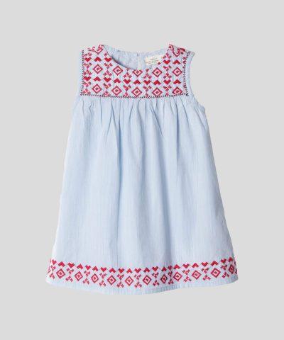 бебешка и детска рокля с бродерии в светлосин цвят