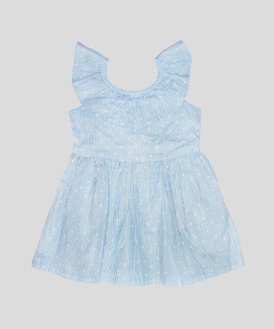 бебешка и детска рокля светлосиньо райе