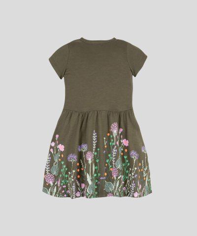детска рокля с цветя от био памук