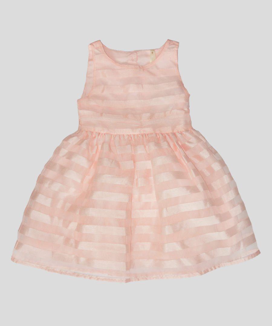 детска официална рокля бледо розово райе