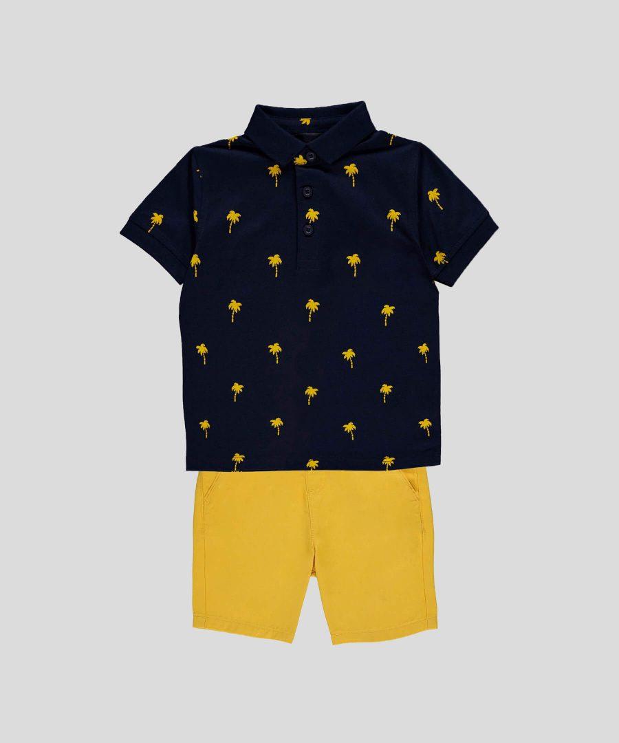 бебешки и детски комплект от 2 части с палмички за момче, състоящ се от къси панталонки и тениска