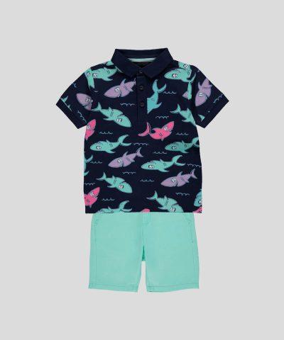 бебешки и детски комплект от 2 части с акули за момче, състоящ се от къси панталонки и тениска