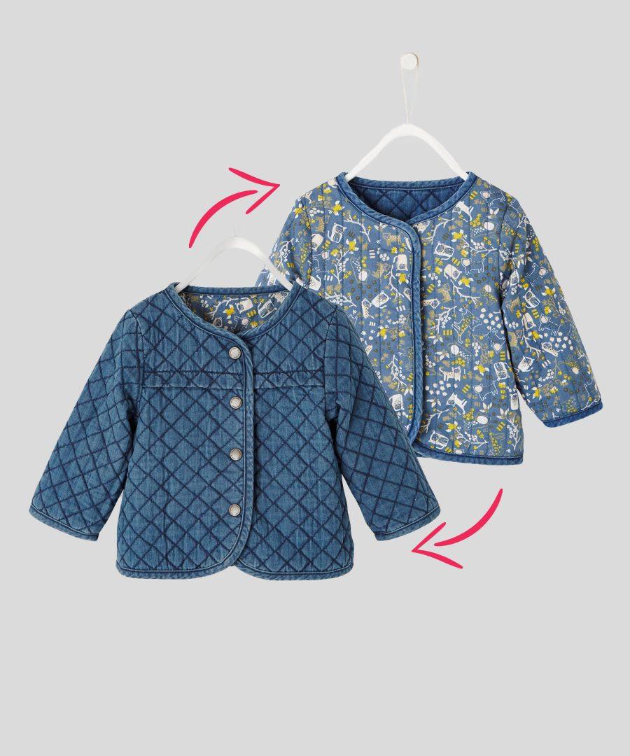 бебешко и детско двулицево дънково яке за момиче от 100% памук