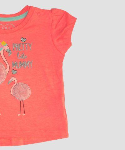 бебешка и детска тениска мама и бебе фламинго за момиче