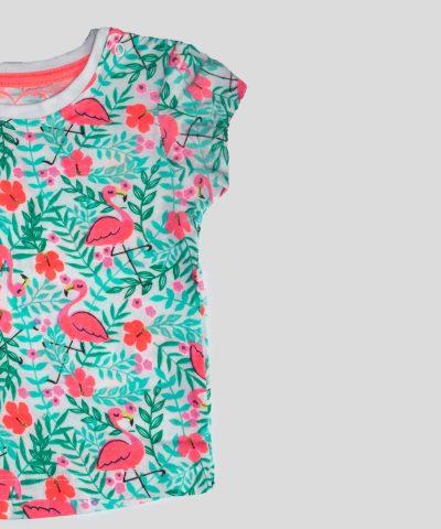 бебешка и детска тениска с фламингота за момиче