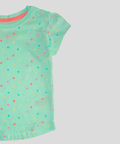 бебешка и детска тениска в цвят мента за момиче