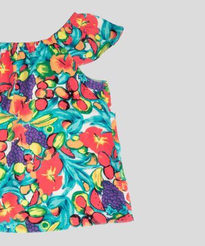 бебешка и детска блуза с плодове и цветя за момиче