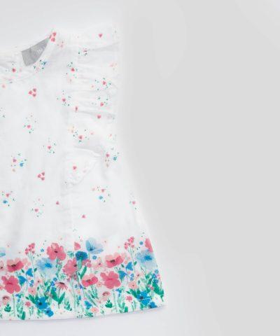 бебешка и детска лятна блуза с флорален десен за момиче