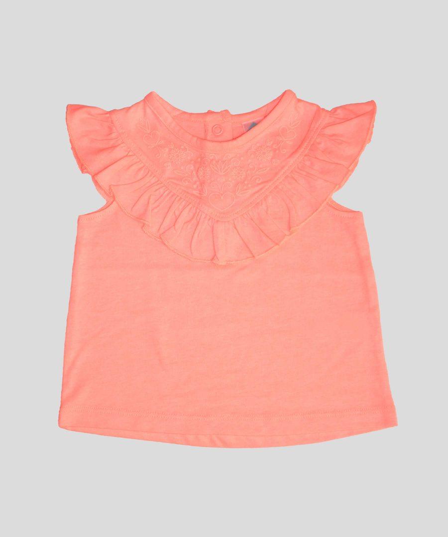 бебешка и детска блуза в цвят корал за момиче