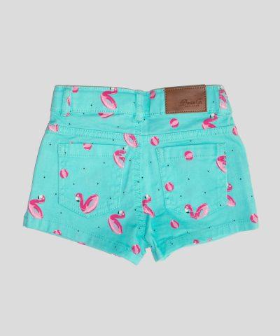 летни бебешки и детски къси дънкови панталонки с фламинго за момиче