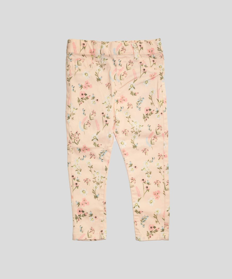бебешки и детски дънков панталон с цветя в розово за момиче