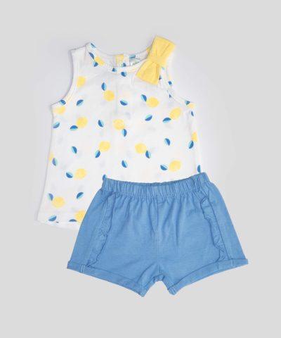 бебешки летен комплект с лимони за момиче