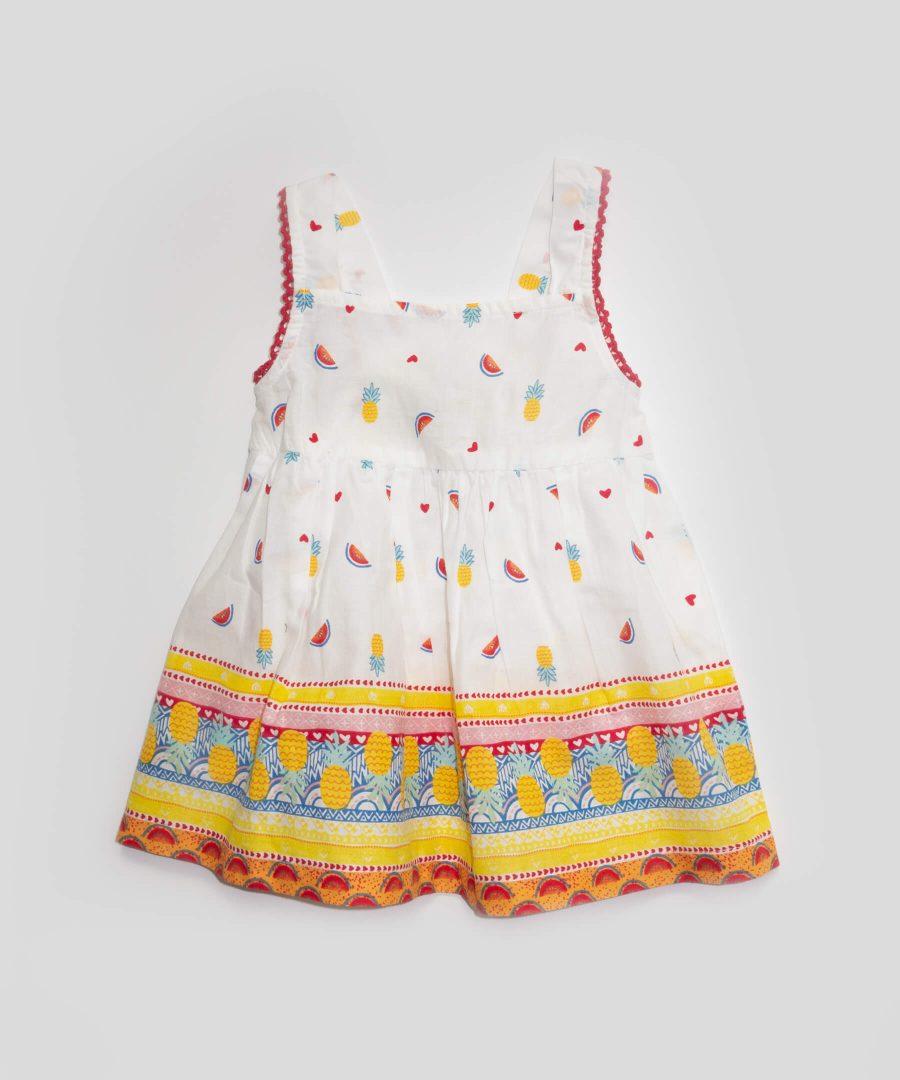 бебешка и детска лятна рокля с презрамки с плодчета