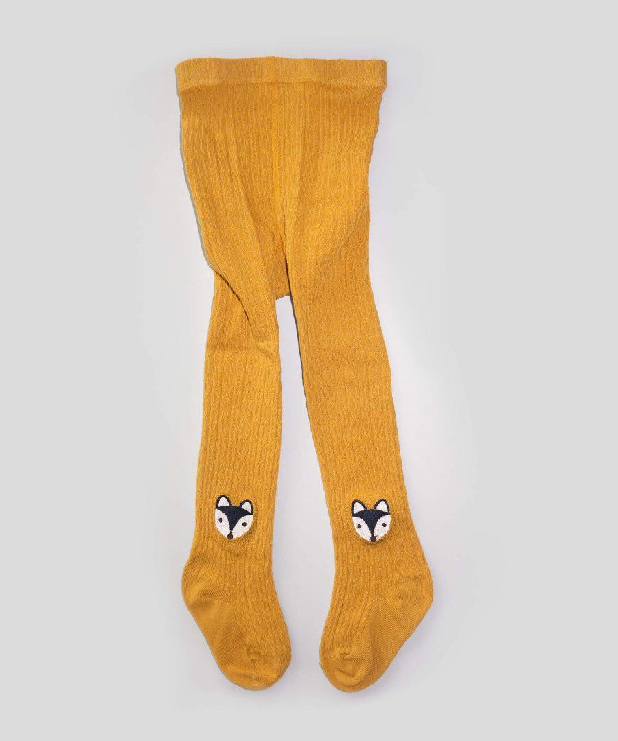 Чорапогащник в цвят горчица с лисици за деца от 1 до 3 години