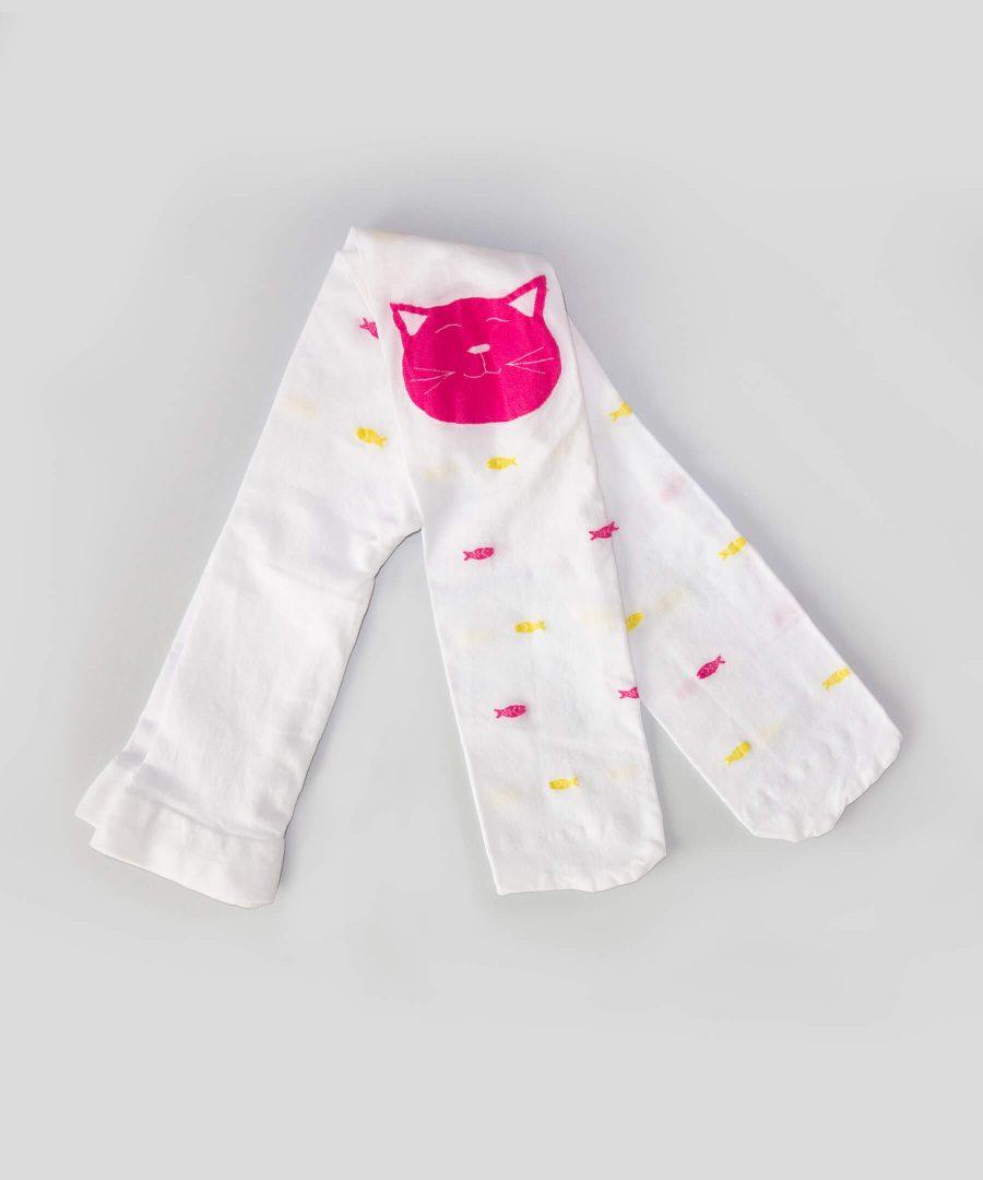 Детски тънък чорапогащник в бял цвят с котенце и рибки