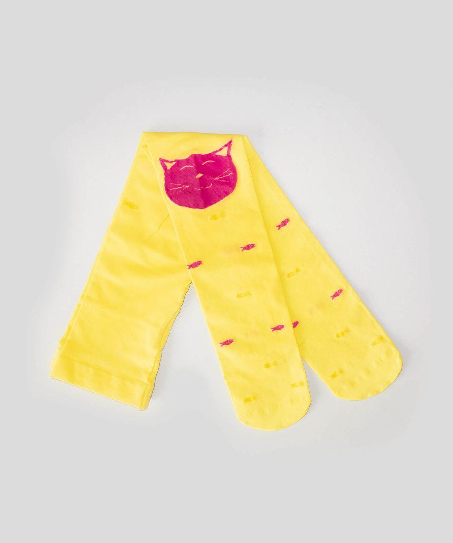 Детски тънък чорапогащник в жълт цвят с котенце и рибки