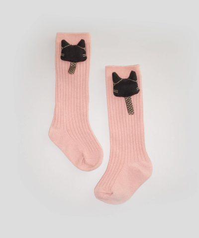 Високи чорапи с апликация коте за деца от 1 до 3 години