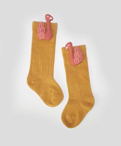 Високи чорапи с апликация лебед за бебета и деца от 0 до 3 години