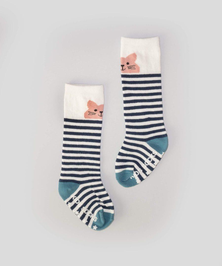 Високи чорапи райе с котенце за бебета и деца от 0 до 2 години