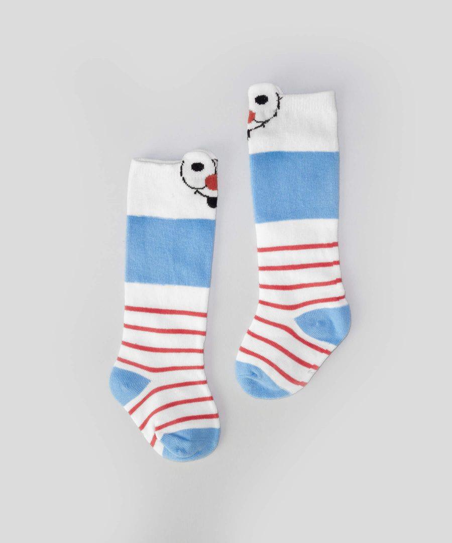 Високи чорапи райе с физиономия за бебета и деца от 0 до 2 години