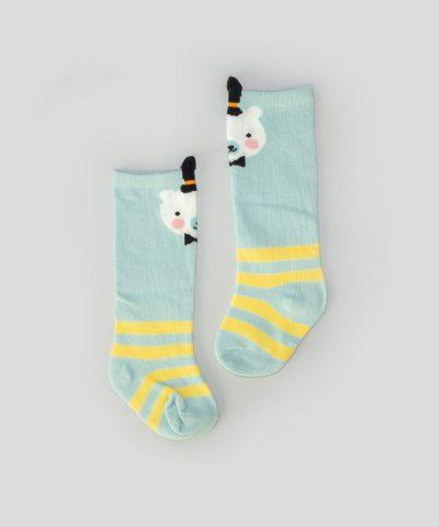 Високи чорапи райе с мече за бебета и деца от 0 до 2 години