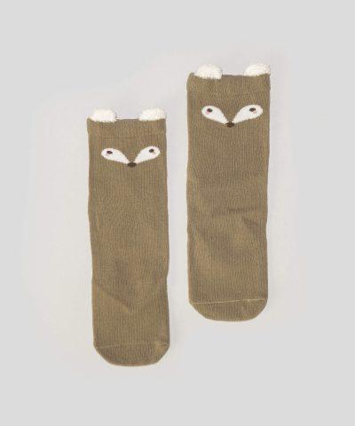 Високи чорапи с лисица за бебета и деца от 0 до 3 години