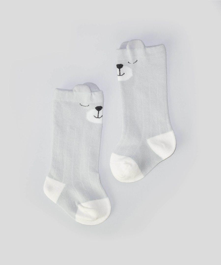 Сиви високи чорапи с мече за бебета и деца от 0 до 2 години