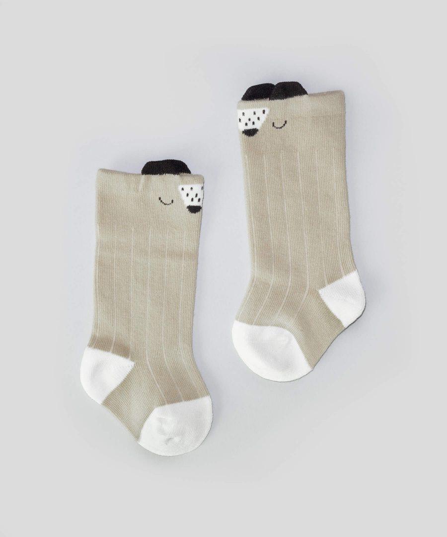 бежови високи чорапи с мече за бебета и деца от 0 до 2 години