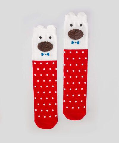Високи чорапи на точки с мече за деца от 3 до 8 години