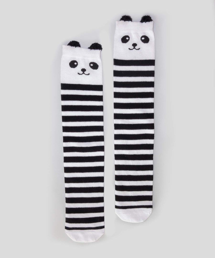 Високи чорапи райе с панда за деца от 3 до 8 години