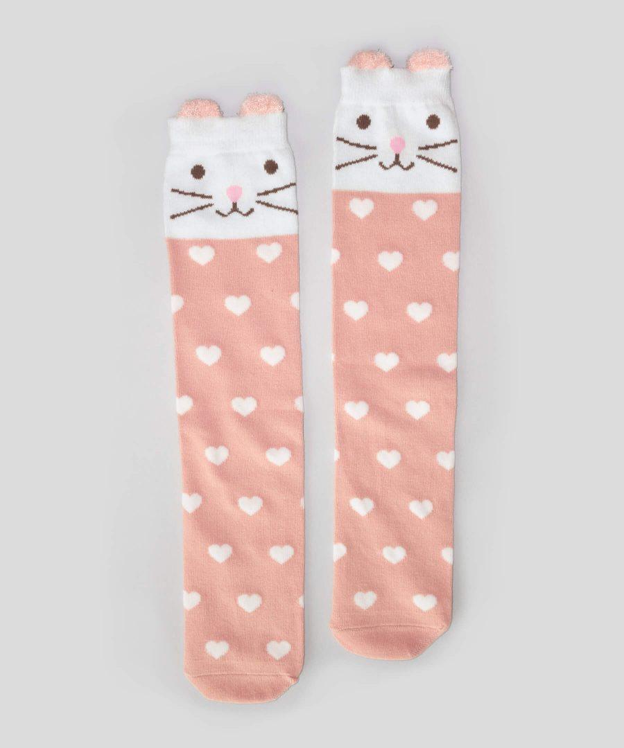 Високи чорапи на сърчица с коте за деца от 3 до 8 години