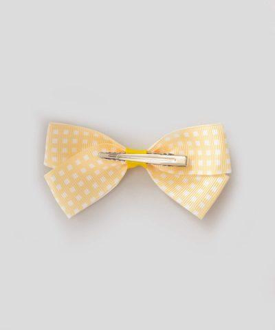 бебешка и детска шнола за коса с панделка в жълт цвят