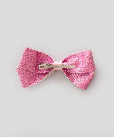 бебешка и детска шнола за коса с панделка в розов брокат