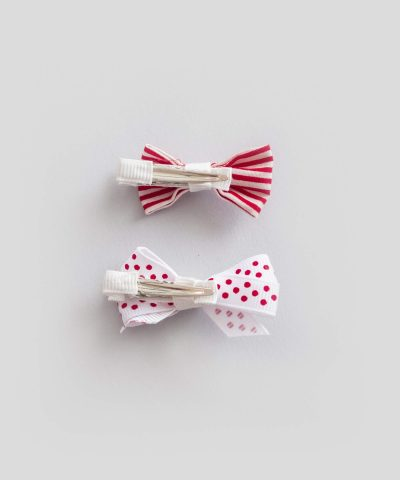 бебешки детски комплект 2бр. шноли за коса - десен в червено и бяло