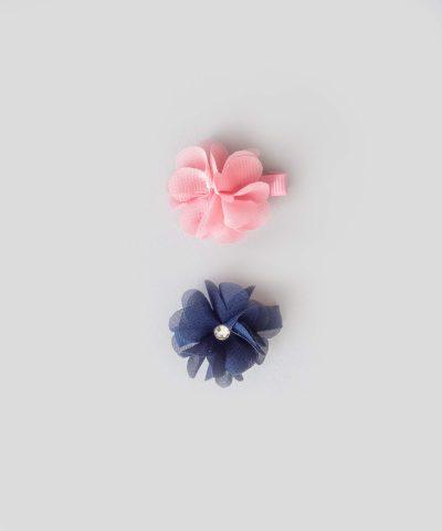 бебешки и детски Комплект 2бр. шноли за коса с апликация 3D цвете