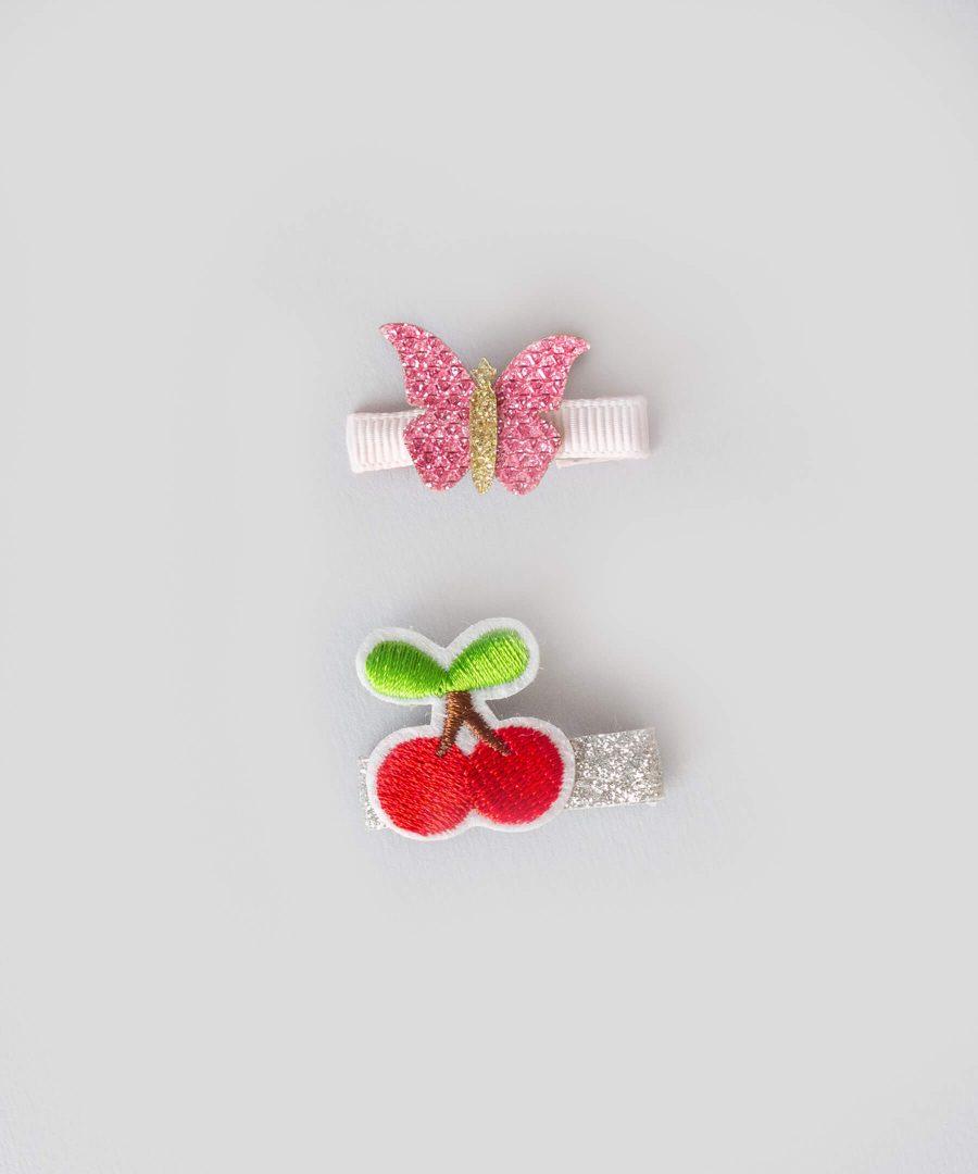 бебешки и детски Комплект 2бр. шноли за коса с апликация - пеперуда и черешки