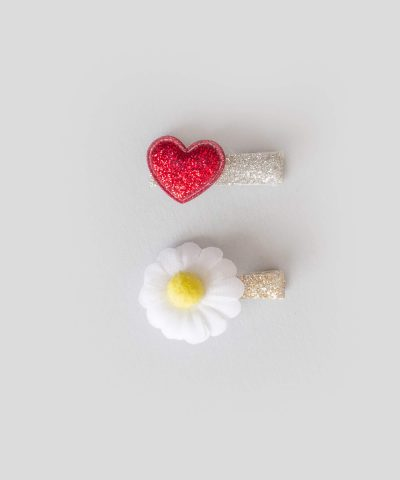 бебешки и детски Комплект 2бр. шноли за коса с апликация - маргаритка и сърце
