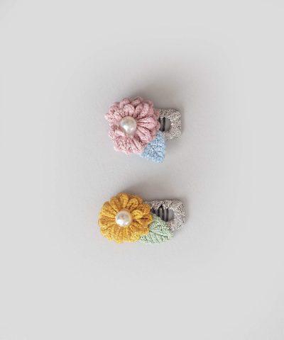 бебешки и детски Комплект 2бр. шноли за коса - цвете с перличка