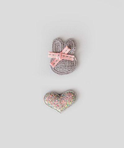 бебешки детски Комплект 2бр. шноли за коса - зайче и сърце