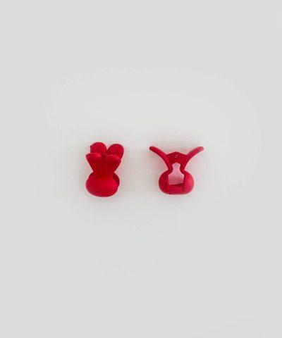 Бебешка и детска шнола за коса зайче в червен цвят 2 бр. в комплект