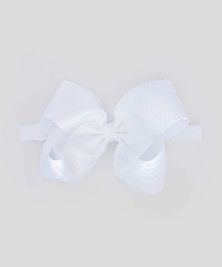 бебешка и детска лента за коса с голяма панделка в бял цвят