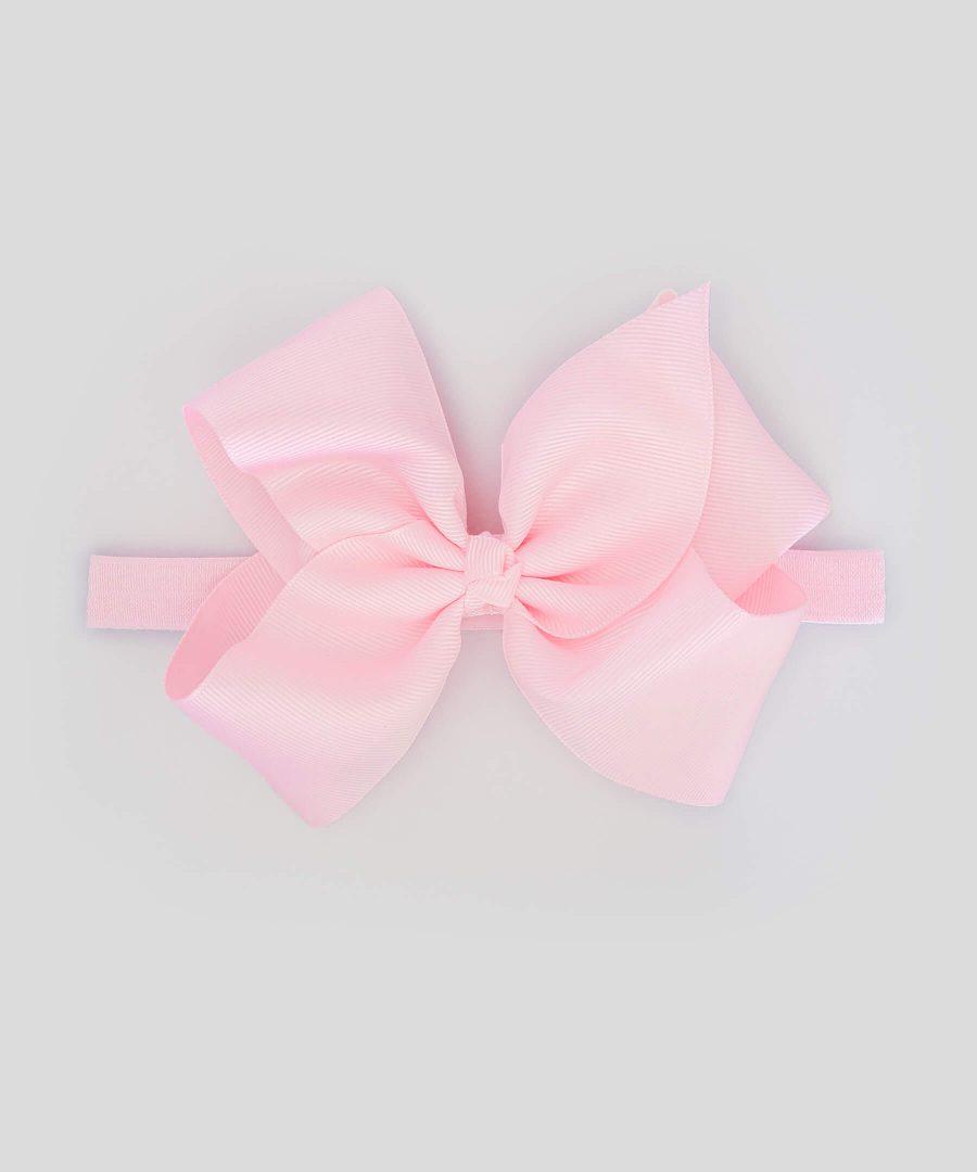 бебешка и детска лента за коса с голяма панделка в бледо розово