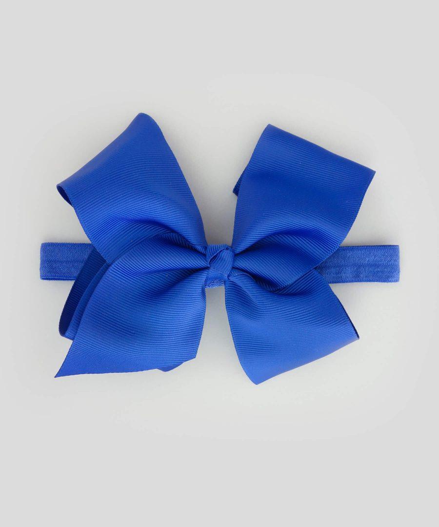 бебешка и детска лента за коса с голяма панделка в син цвят