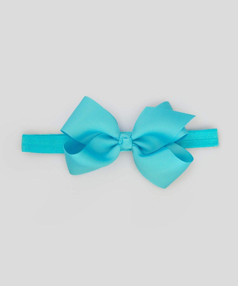 бебешка и детска лента за коса с панделка в син цвят