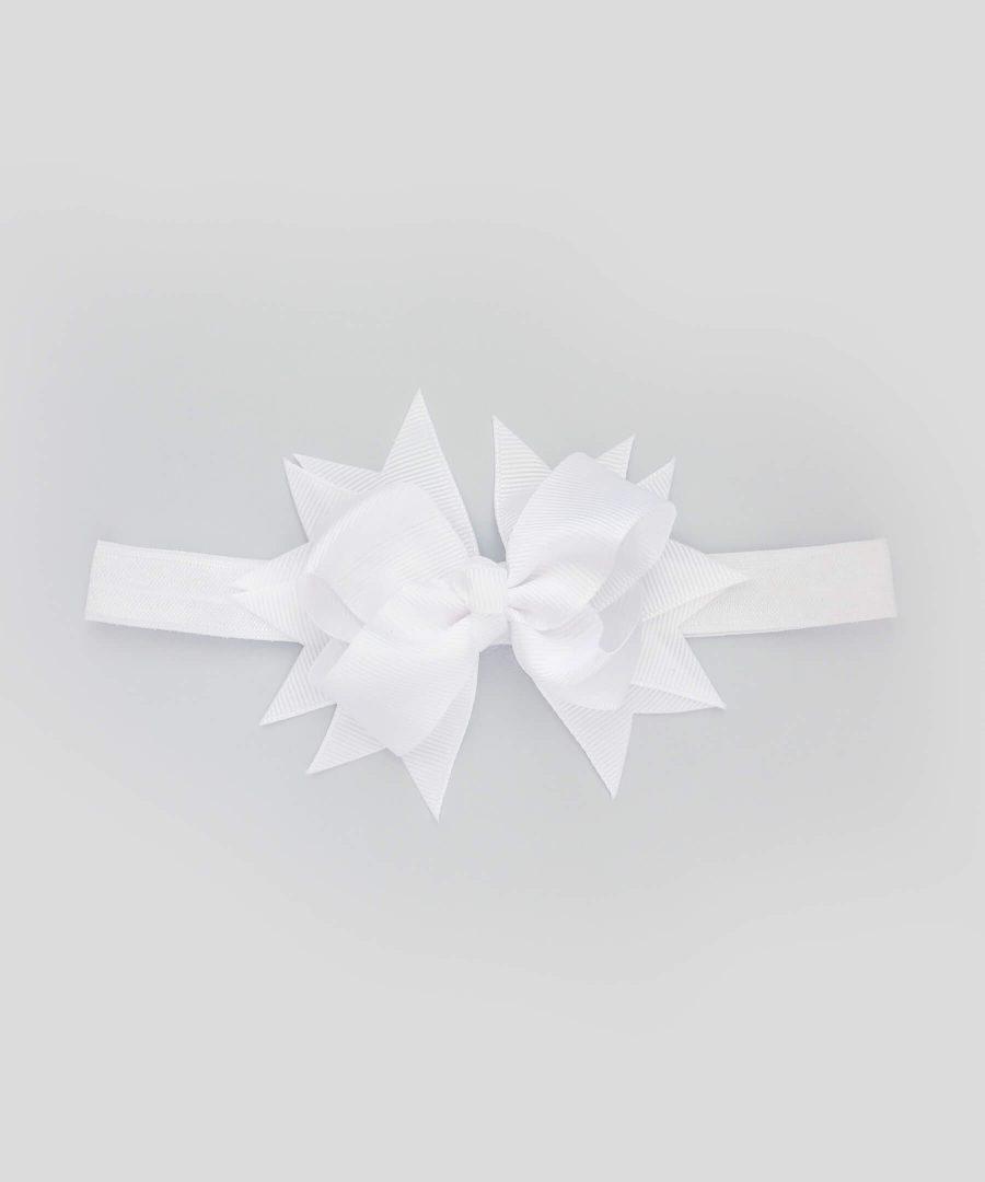 бебешка и детска лента за коса със сложна панделка в бял цвят