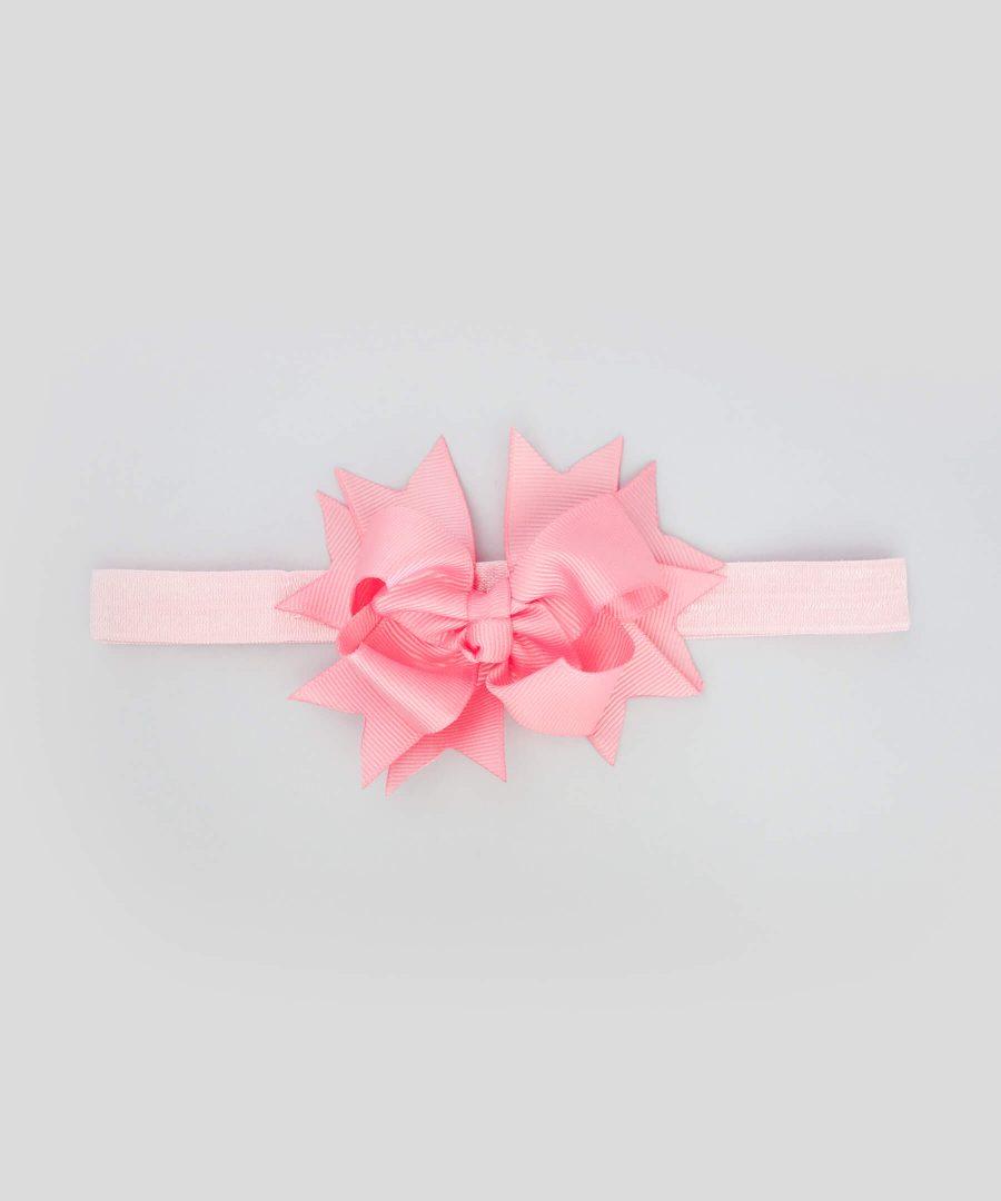 бебешка и детска лента за коса със сложна панделка в розов цвят