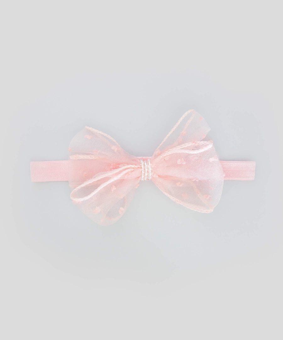 бебешка и детска лента за коса с прозрачна панделка в розов цвят
