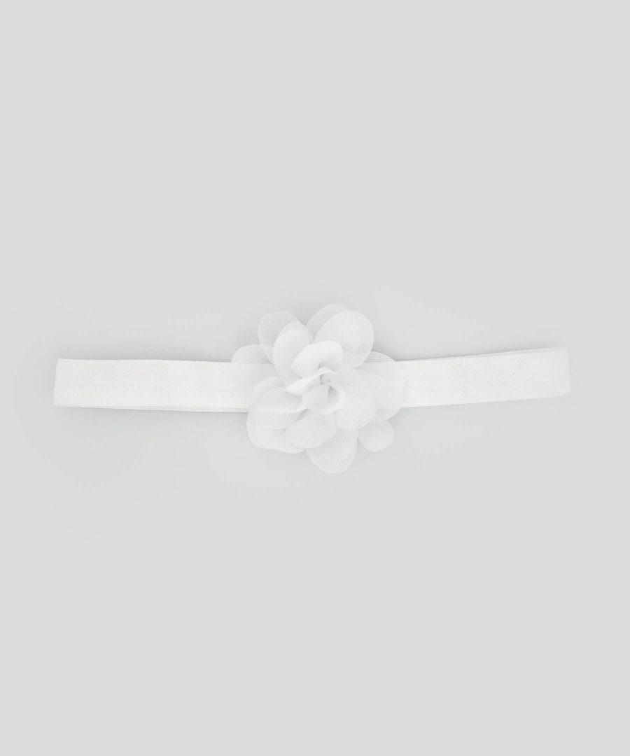 бебешка и детска лента за коса с цвете в бял цвят